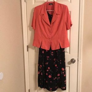 🌷 Cimmaron Plus 2 pc Peach and Black Floral Dress